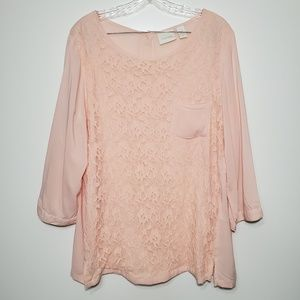 Chico's size 2 lace button back Blouse Top